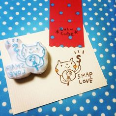 そして、今回も作りましたよ、SMAP LOVEはんこ。SMAPファン探知機(笑) #消しゴムはんこ #けしはん #keshihan #lulucube
