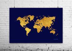 world map poster navy gold world map world map wall art 24