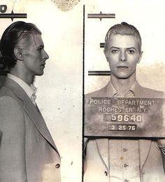 David Bowie Mugshot, Rochester NY 1976.