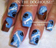 dog Nail Design | Dog Nail Art Paw Prints & Bones