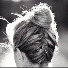 braid into bun updo for thin hair More