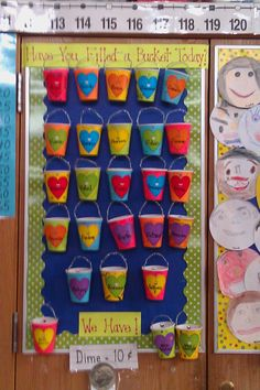 "After reading the book ""Have You Filled a Bucket Today"" each child made their own bucket out of a paper cup, colored paper, and pipe cleaner. Every time they do something to fill someone else's ""bucket"" they add pom poms to their bucket and when their bucket is full they get a bucket filler award and a home work pass!"