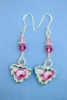 Broken China Jewelry, China Heart Earrings, Pink Roses