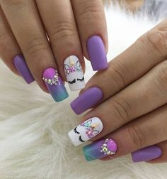 Do you search the new trending concepts, nail colors, nail spring design for your hand? Pretty Nail Art, Cute Nail Art, Cute Nails, Unicorn Nails Designs, Unicorn Nail Art, Nails For Kids, Girls Nails, Violet Nails, Pink Nails