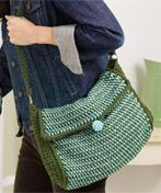 Crochet-Striped Afghan Stitch Shoulder Bag
