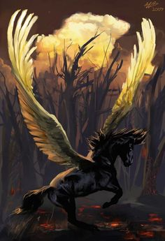 "The beauty of ""Pegasus"": He was sired by Poseidon, in his role as horse-god, and foaled by the Gorgon Medusa. He was the brother of Chrysaor, born at a single birthing when his mother was decapitated by Perseus. Pegasus, Unicorn Fantasy, Unicorn Art, Magical Creatures, Fantasy Creatures, Fantasy World, Fantasy Art, Winged Horse, Unicorn Pictures"