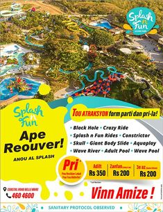 Splash n Fun Ape Re-Ouver Vandredi 16 OKTOB 2020. Vinn Amize ! Tel: 460 4600 | Adverts - Latest Entertaining, Fun, Funny, Lol, Entertainment