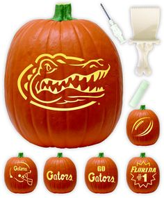 Gator pumpkins :) Florida Gators Football, Gator Football, Pumpkin Lights, Halloween Pumpkin Stencils, Pumpkin Carving Kits, Halloween Pumpkins, Holidays Halloween, Halloween Fun, Pumpkin Carvings