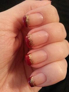 Maroon and gold glitter French manicure