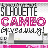 Craft-e-Corner Cameo Giveaway! Come enter for your chance to win a SIlhouette Cameo now! N purchase necessary. www.craft-e-corner.com