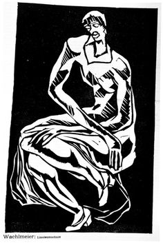 Ludwig Wachlmeier, Untitled seated figure, ca 1915, linocut. Image: 12 3/4 x 8 3/16 in. Robert Gore Rifkind Ctr for German Expressionist Studies @ LACMA