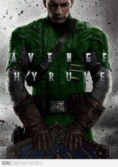 Avenge Hyrule… Captain America of the Avengers as Link from Legend of Zelda. Crossovers FTW. Via 9gag. XD #geek #humor