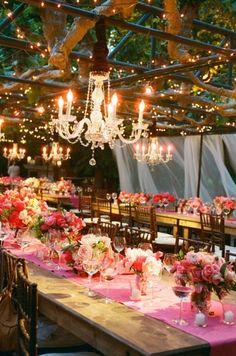 Soiree Saturday: Pink bouquets and lavish chandeliers come together to create an elegant outdoor event.