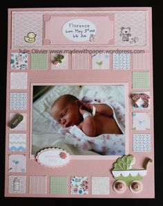 baby scrapbook page I like the quilt look around the border.