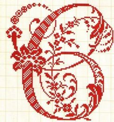 Large fancy alphabet letter c Cross Stitch Letters, Cross Stitch Borders, Cross Stitch Charts, Cross Stitch Designs, Cross Stitching, Stitch Patterns, Blackwork Embroidery, Embroidery Letters, Diy Embroidery