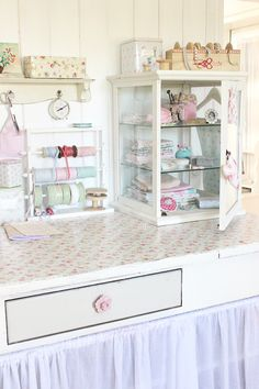 Display cabinet and tilda decoupage desk craft room
