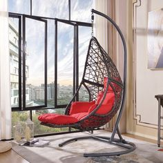 Hanging Chair With Stand, Hanging Swing Chair, Swinging Chair, Hanging Chairs, Hammock Chair With Stand, Swing Chairs, Hanging Baskets, Large Cushions, Red Cushions