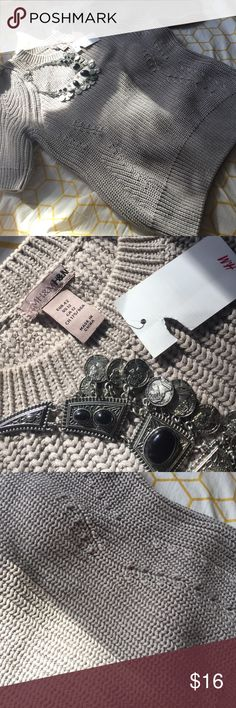 NWT Short sleeves ruffled shoulder H&M sweater Beautiful new with tag H&M sweater perfect for the fall and winter no snags, thick material H&M Sweaters