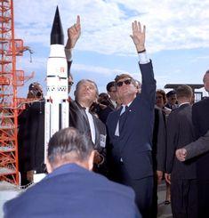 German-born American rocket scientist Wernher von Braun and Kennedy tour Cape Canaveral, Florida, on Nov. 16, 1963.