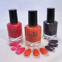 "Girly Bits - ""Bones"" inspired polishes - Dancing Phalanges (raspberry), King of the Lab (orange), Gravedigger (black)"