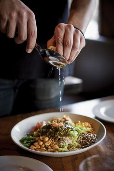 """Finding laphet, the fermented tea leaves at the heart of Burma Superstar's signature salad, can be a challenge.  While the Bay Area restaurant chain now sells  its dressing with tea leaf salad kits, online via Good Eggs and at select Whole Foods, the faux laphet dressing in """"Burma Superstar"""" (Ten Speed Press; 272 pages; $29.99), is a reasonably close approximation.  To make the salad vegetarian, omit the dried shrimp and fish sauce.  2 tablespoons good-quality loose-leaf green tea, such as…"""