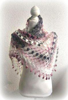 Crochet Shawl ScarfTriangle Shawl Neckwarmer  by Iovelycrochet, $55.00