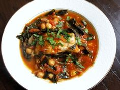 Tomato-Poached Fish with Kale and Chickpeas -- Really good, and a quick weeknight dinner. Would make again!