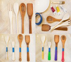 #DIY Kitchen Decor: Paint Dipped Wooden Utensils. Love how easy this project is! You can get more great DIY ideas when you sign up for a free account at http://brightnest.com!