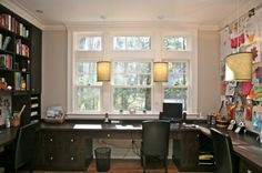 by Marie Newton, Closets Redefined  Big windows + ample shelves/cupboards + wall to pin things + ample tabletop to work = makes for a functional home office .... desktop space around the room is great.