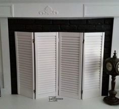 8 Fabulous Ideas Can Change Your Life: Rustic Fireplace Doors fireplace garden french doors.Fireplace Garden How To Build rustic fireplace doors.Fireplace And Tv Herringbone Tile. Farmhouse Fireplace Screens, Fireplace Doors, Concrete Fireplace, Faux Fireplace, Marble Fireplaces, Fireplace Inserts, Fireplace Remodel, Fireplace Design, Fireplace Mantels