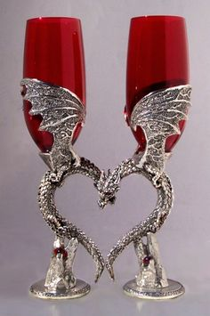 Dragon Heart Wing Wedding Toasting Glasses Set ~ LOVE it but Shawn would never go for it.