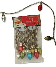 Retro Christmas Garland | Glass Light Bulb Garland