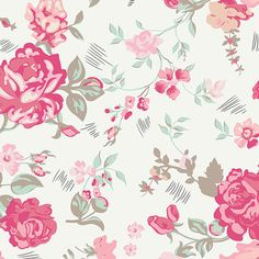 Scandi flower Fabric 75/% Cotton 25/% Polyester material metre grey silver print