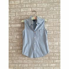 Blue Cotton Collard Top Single pocket/Collard/100% Cotton/Sleeveless  No signs of wear and tear. Blassport Tops Blouses