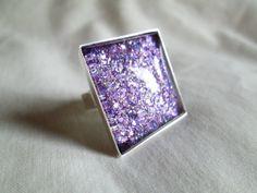 "Dark Purple Rainbow Glitter Nail Polish Adjustable Ring: 25mm / 1"" Glass Square in Silver Tray Ring Setting"