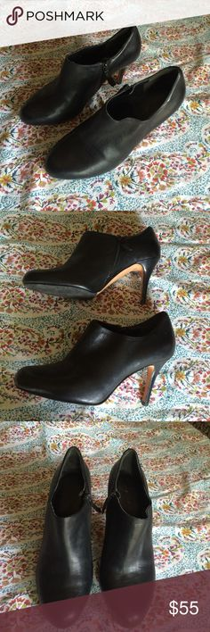 Cole Haan short bootie heels Chic and classy Cole haan heels. Black leather with inside zipper. Shows a bit of wear on inner seem but no outside flaws. Heels are 3.5 inches. Cole Haan Shoes Heels