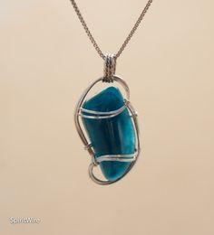 Neon Blue Apatite Wire Wrapped Pendant, Sterling Silver Wire Wrapped Stone Pendant, Blue Apatite Wire Wrap Pendant, Blue Apatite Pendant