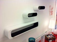 Lounge Cubes Oval Black Inside (3/Set)  Lounge wand- Kubus  Retro ...