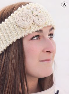 Hand knit creative rosette ear warmers! Only 10.00 and can be mailed!