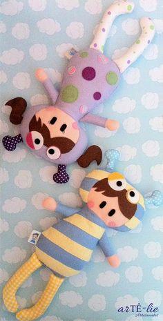Naninhas Tatá e Bubú! Sleeping Dolls #naninha  #felt #feltro #sleepingdolls