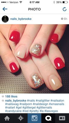 Image via Beautiful Wedding red nail art design Image via Flower Wedding red nail art Image via Image via I love this but every time I get just one nail a light color it look Fancy Nails, Love Nails, How To Do Nails, Pretty Nails, Red Nail Art, Red Nails, Glitter Nails, Pink Glitter, Beige Nails