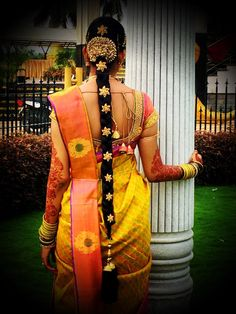 Traditional Southern Indian bride's bridal braid hair. Hairstyle by Swank Studio. Find us at https://www.facebook.com/SwankStudioBangalore   #SilkSaree #Blouse #Design #HairAccessory