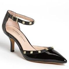 """EUC Julianne Hough for Sole Society Pumps Excellent condition...worn less than a handful of times. Julianne Hough for Sole Society """"Anneke"""" black pump with gold studded accent and ankle wraparound. 3"""" heels. Size: 10.  Super cute and comfortable! Sole Society Shoes Heels"""
