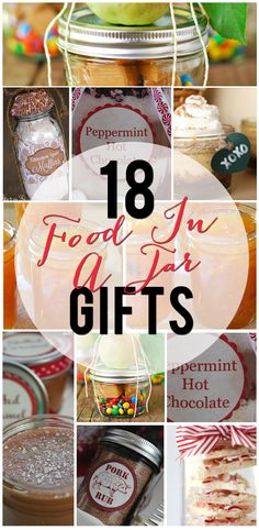 18 Food Gifts in a Jar- hot chocolate, cookies, and even dry rubs. Make cute and easy food gifts for hostesses, friends and neighbors, teachers, and make everyone on your list happy. Get your Mason Jars ready! By Penney Lane Kitchen.
