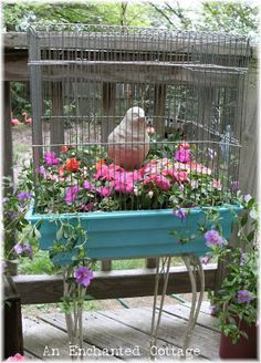 An Enchanted Cottage: Create a birdcage planter for your patio...
