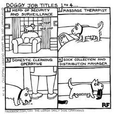 Doggie Job Titles 1 to 4 - Off The Leash Dog Cartoons by Rupert Fawcett