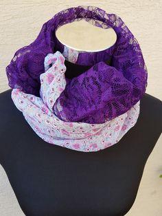 gemustert - Loop Schlauchschal Spitze Chiffon lila violett   - ein Designerstück von trixies-zauberhafte-Welten bei DaWanda