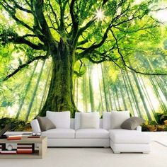 wallpaper custom mural non-woven wall sticker tree forest setting wall is sunshine paintings photo mural wallpaper