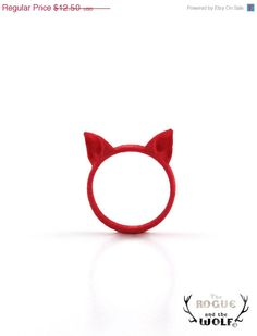 dd will love this!    Red Cat ring, Cat Ears Ring, animal ring, fashion cool ring, cute kawaii ring, Neko ears, for the feline girlfriend, for the cat wo. $9.90, via Etsy.