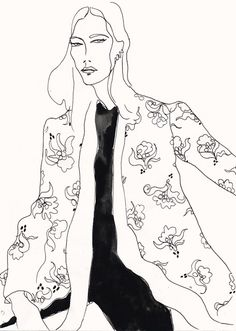 The fluidity and form of Rosie McGuinness's oeuvre of work is one that marries both the approach to classical fashion drawing, conjuring the. Art And Illustration, Fashion Illustration Sketches, Fashion Sketchbook, Fashion Sketches, Fashion Drawings, Illustrations Posters, Art Postal, Art Plastique, Line Art